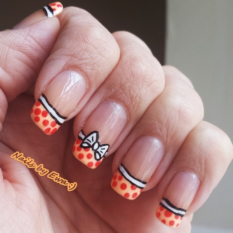Fun french manicure nail art by Ewa