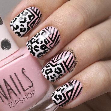 A geometrical grafic leopard print nails nail art 2014 topshop nail polish pink white               2014                            lets nail moscow 3 thumb370f