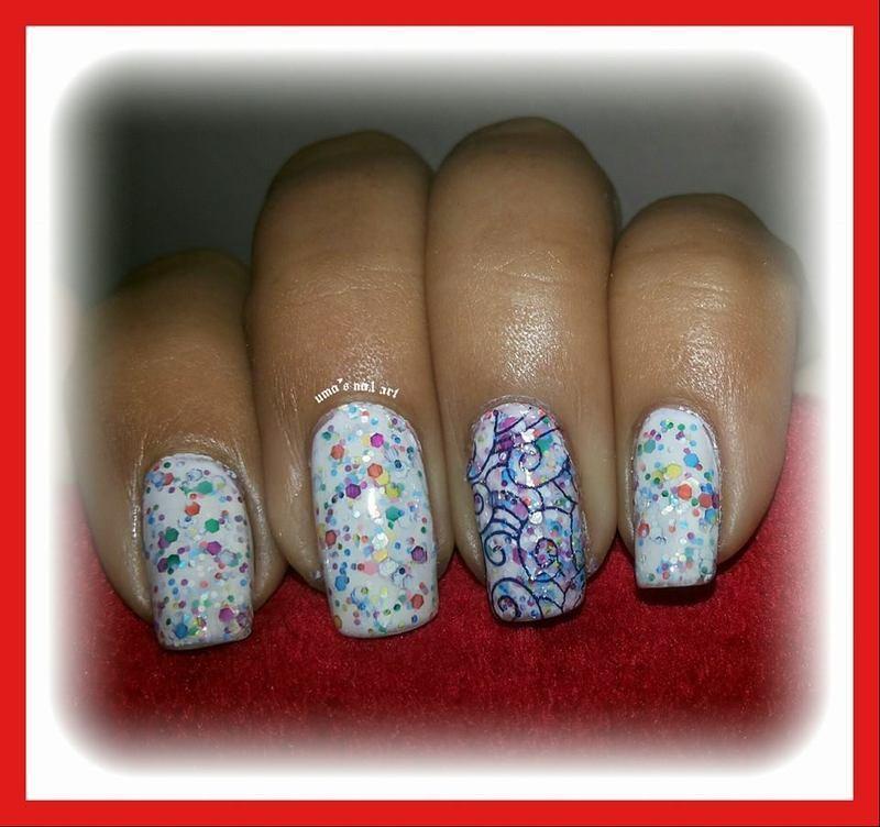 cool white nail art by Uma mathur