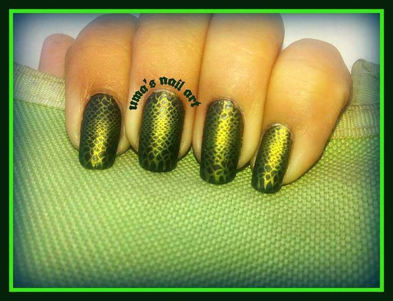 snake skin nail art by Uma mathur