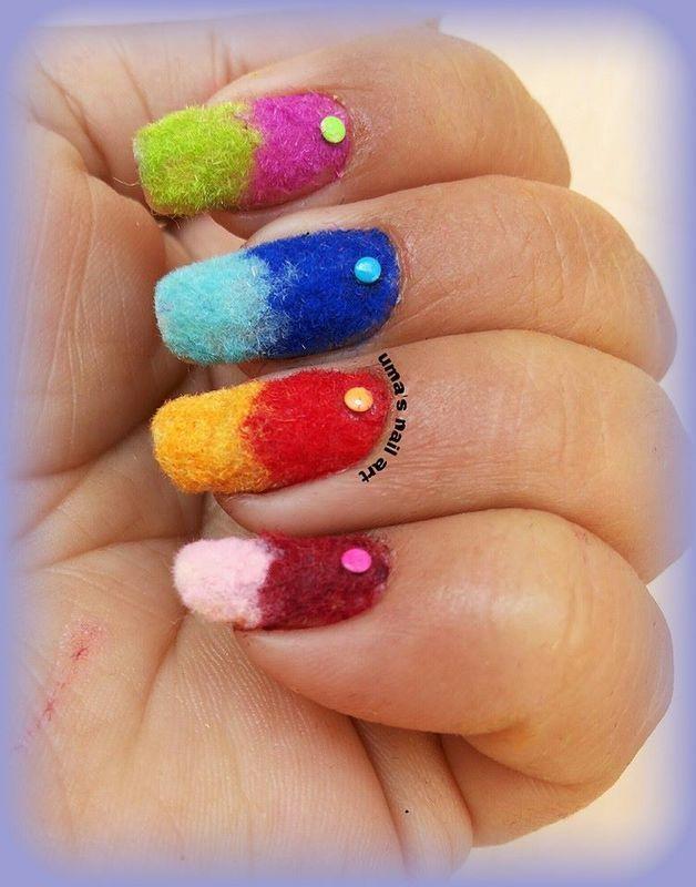 flocking gradient nail art by Uma mathur