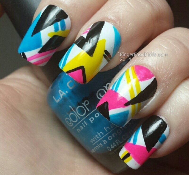 The Digital Dozen does Decades 1 - 80s nail art by Sam