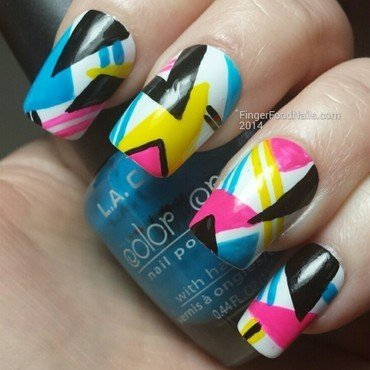 The Digital Dozen does Decades 1 - 80s nail art by Sam