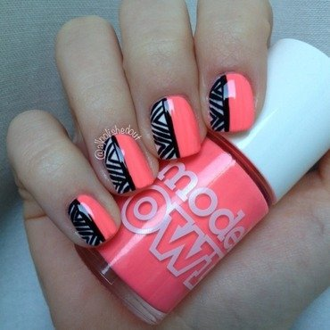 Fluorescent Aztec nail art by allpolishedout