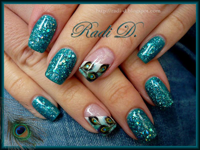 Peacock Feathers Glitter Gel Polish Nail Art By Radi Dimitrova