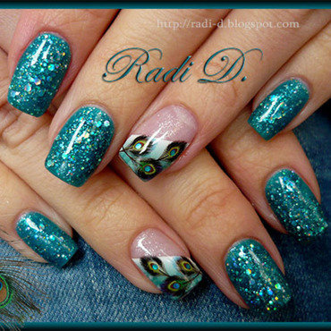 Peacock Feathers & Glitter gel polish nail art by Radi Dimitrova