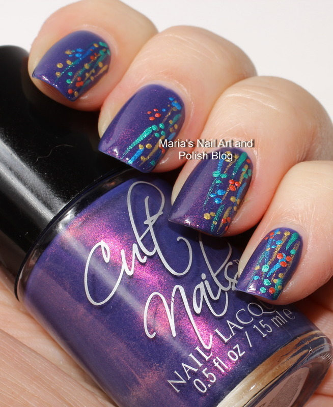 "Flushed stripes and dots nail art by Maria ""Maria's Nail Art and Polish Blog"""