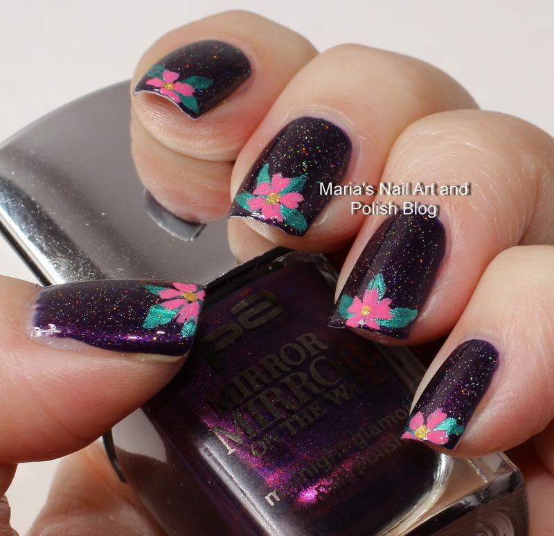 "Floral french on purple nail art by Maria ""Maria's Nail Art and Polish Blog"""