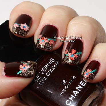 "Rouge Noir with flowers and gold nail art by Maria ""Maria's Nail Art and Polish Blog"""