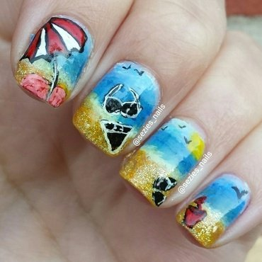 at the beach nail art by Sarah Bellwood