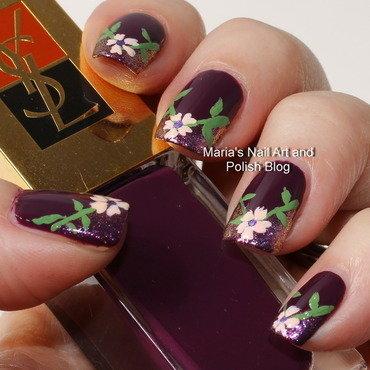 """V-shade floral nail art nail art by Maria """"Maria's Nail Art and Polish Blog"""""""