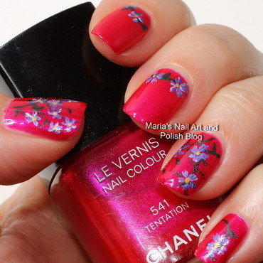 """Tentation floral nail art nail art by Maria """"Maria's Nail Art and Polish Blog"""""""