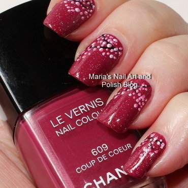 "Cherry blossoms on Coup de Coeur nail art by Maria ""Maria's Nail Art and Polish Blog"""
