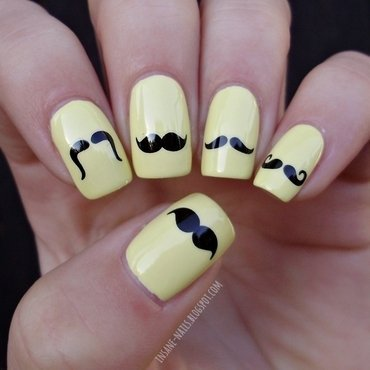 Moustache nails nail art by Sanela