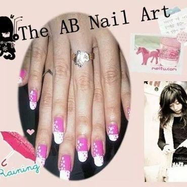 pink polkadot nail art by moii phing