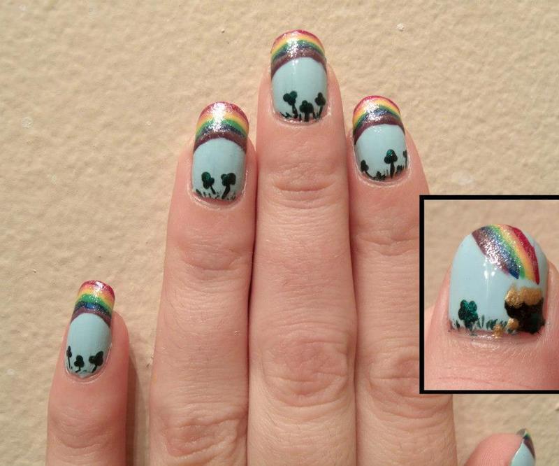 St. Patrick's Day Nails nail art by Toria Mason