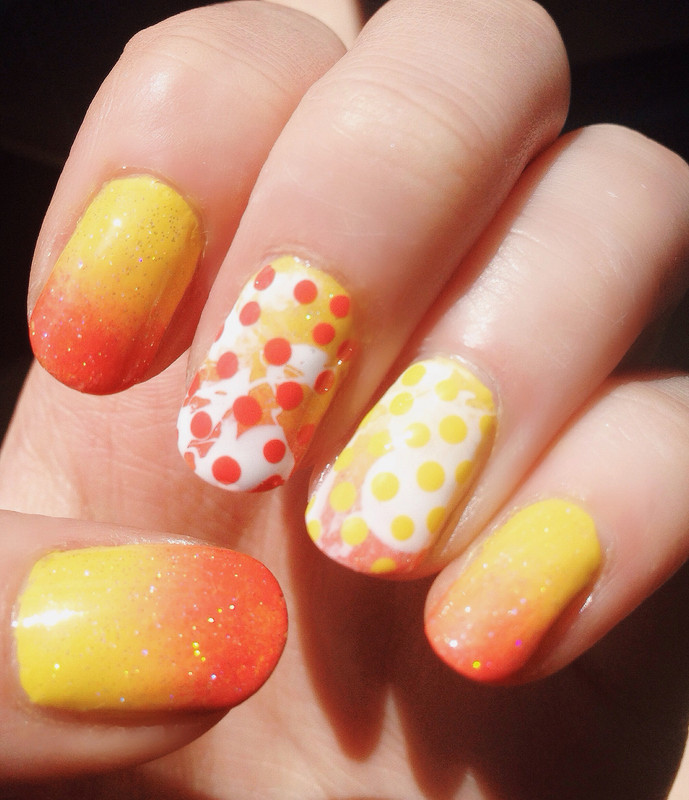 Bright Summer Gradient, Splatter and Polka Dots nail art by Anya Qiu