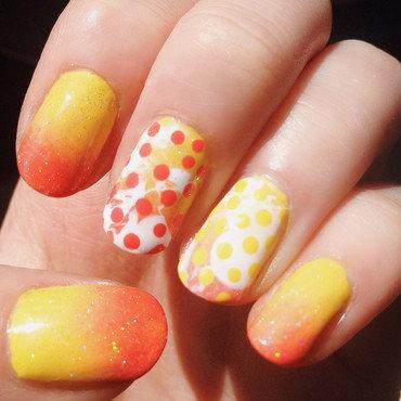 Bright Summer Gradient, Splatter and Polka Dots nail art by Anya Qiu