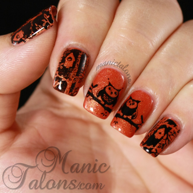 Woodland Owls with Messy Mansion MM38 nail art by ManicTalons