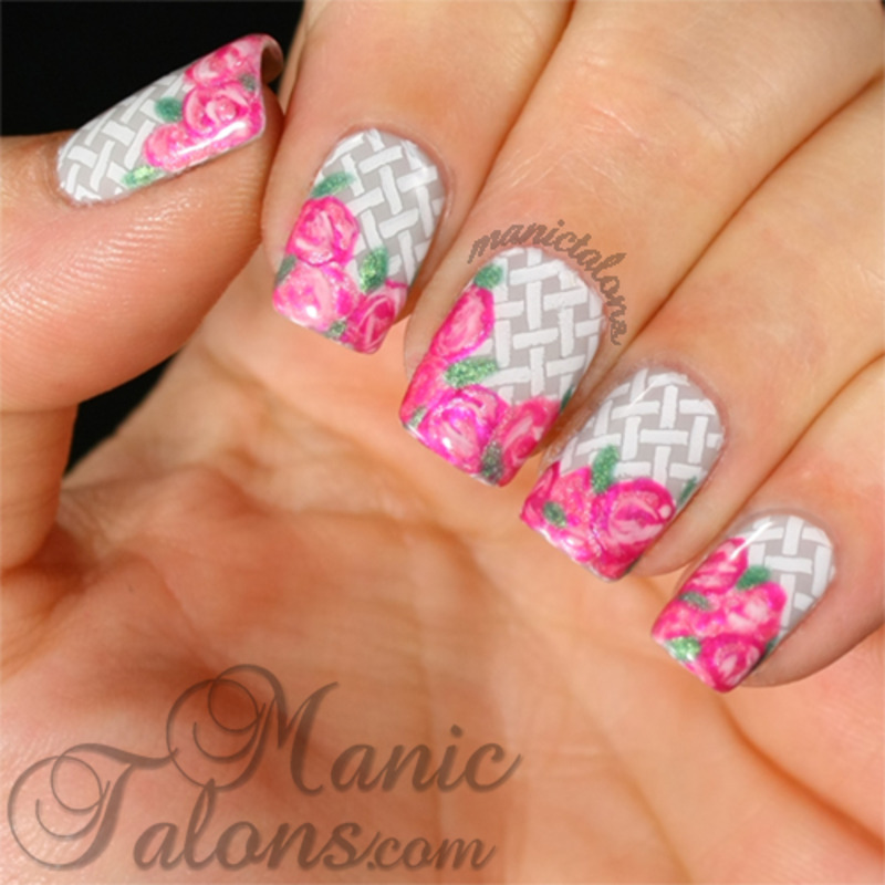 Baskets of Roses nail art by ManicTalons