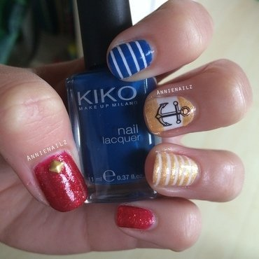 Nautical Nails nail art by Annienailz