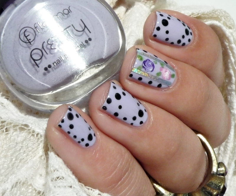 Floral and dots nail art by Romana