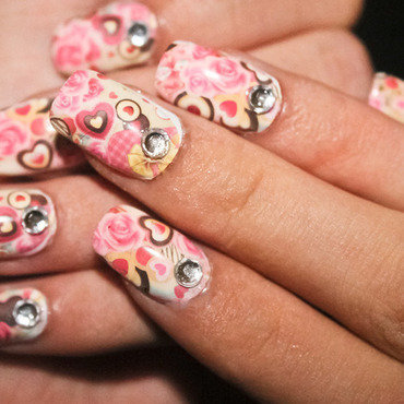 Roses and chocolates nail art by Diana Livesay