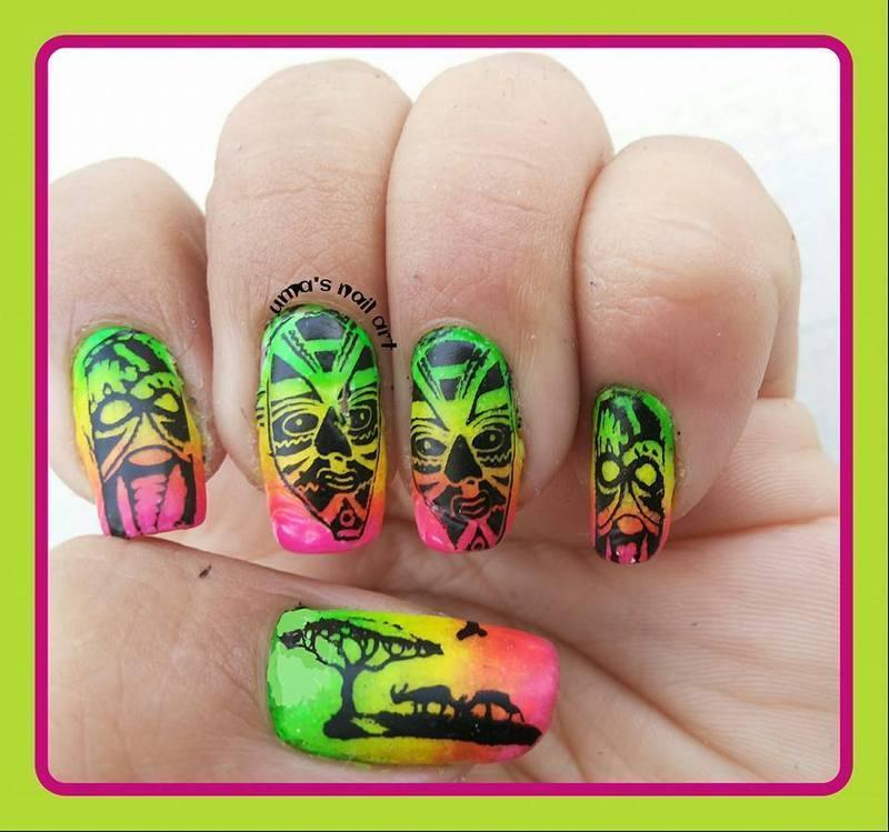 Neon Trible nail art by Uma mathur
