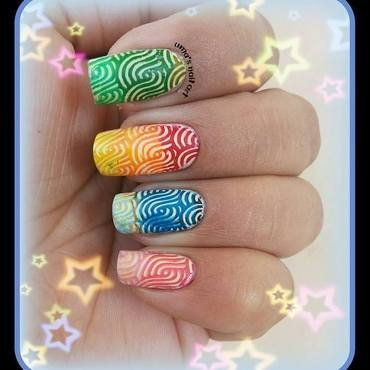Gradient Stamping nail art by Uma mathur