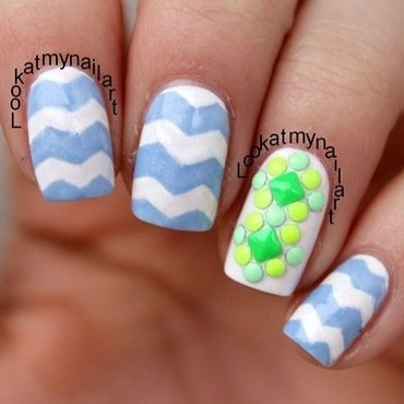 Chevron & Neon studs nail art by Sabine