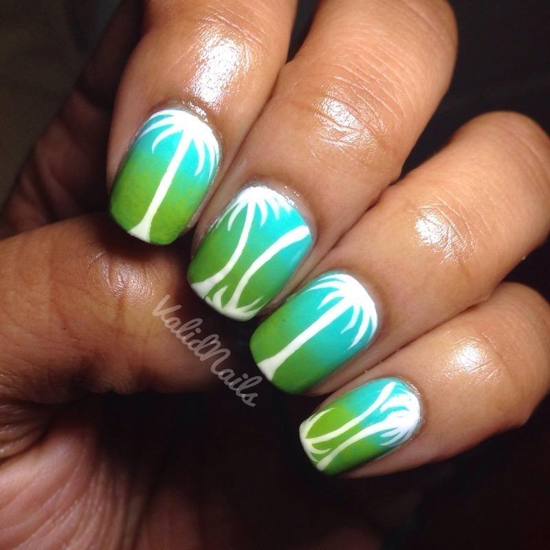 Palm Trees nail art by Chantay
