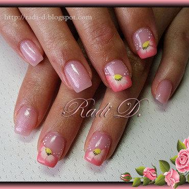 Peach Flowers nail art by Radi Dimitrova