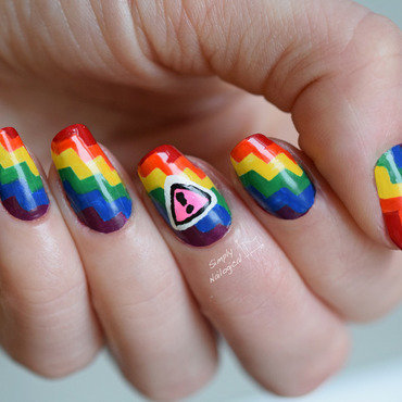 Climbing the rainbow staircase - Int. Day Against Homophobia nail art by simplynailogical