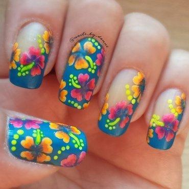 Hibiscus summer mani nail art by Danielle  Hails