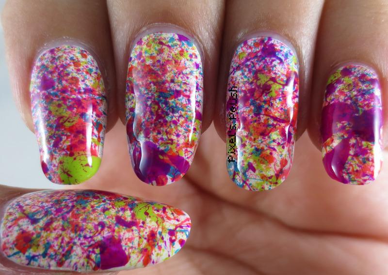 Neon Splatter nail art by Pixel's Polish