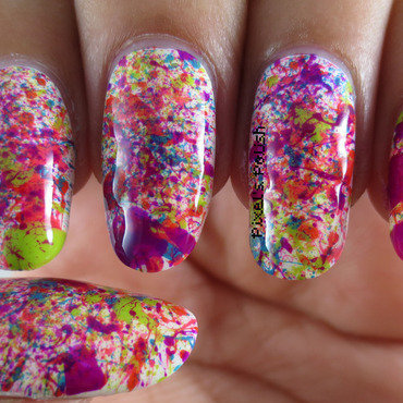 Neon Splatter nail art by Pixel's Polish