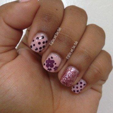 Spots and Flowers nail art by Marisol Medina
