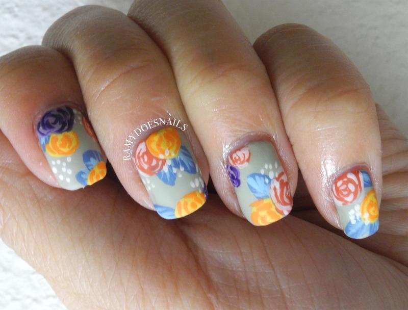 Matte roses nail art by Ramy Ang
