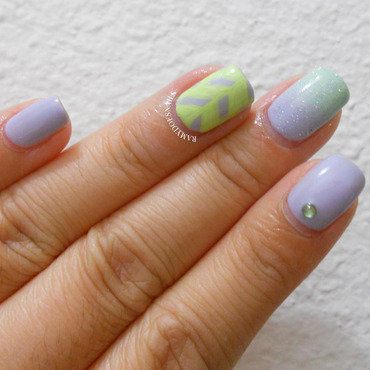Mint and lavender  nail art by Ramy Ang