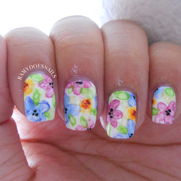 Watercolor flowers nail art by Ramy Ang