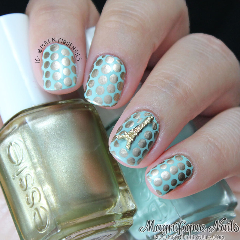 Golden Dots and Eiffel Tower  nail art by Ana