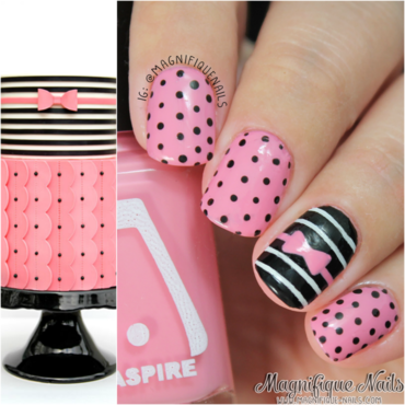 Black Polka Dots & Pink Bow Nails nail art by Ana