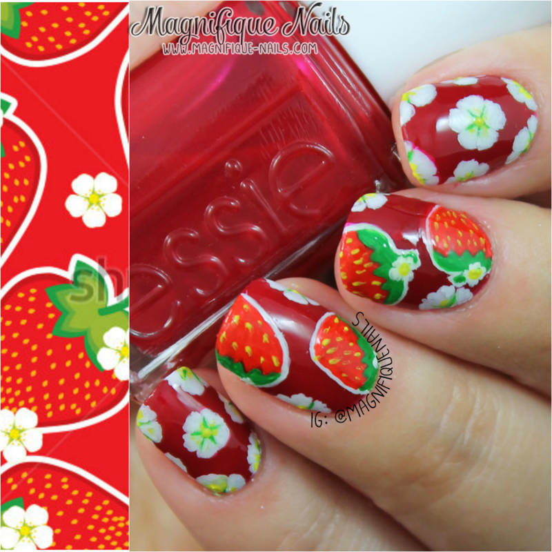Strawberry Nails & Florals nail art by Ana
