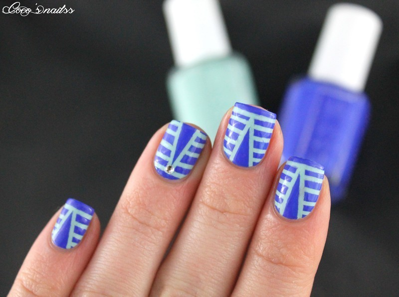 Striping tape nails nail art by Cocosnailss