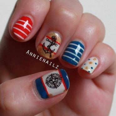 Nautical Design nail art by Annienailz