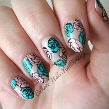 Worn Roses nail art by Courtney Haines