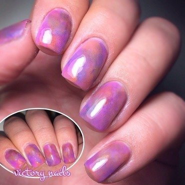 Purple/Pastel Dry Brush Watercolour nail art by Nicole