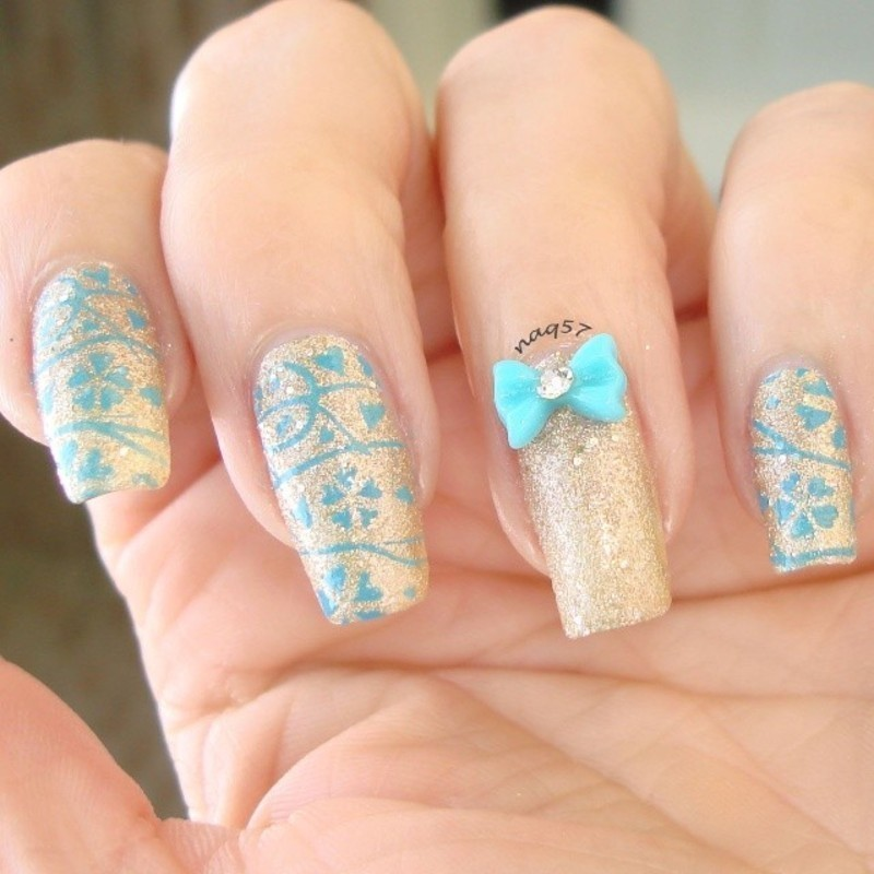 Girly in Blue nail art by Nora (naq57)