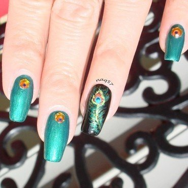 Freehand Peacock Feather nail art by Nora (naq57)