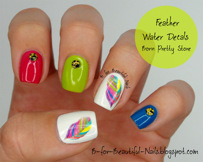 Feather Water Decals Nail Art ♥ nail art by B.